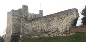 One of the few remaining portions of the external walls of Rochester Castle