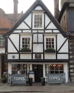 This is the house which Charles Dickens used as the home of Mr Tope, the head verger at Rochester Cathedral in 'The mystery of Edwin Drood'