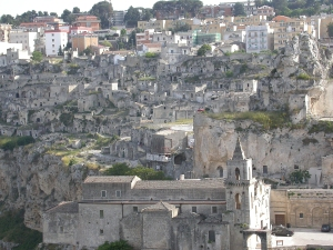 The Sassi at the bottom and the modern town at the top of the ravine