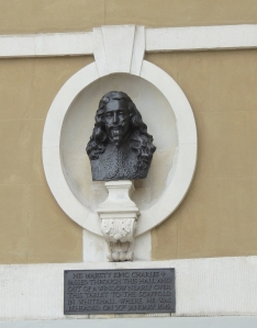 Memorial to execution of Charles I erected near site of scaffold outside Banqueting House