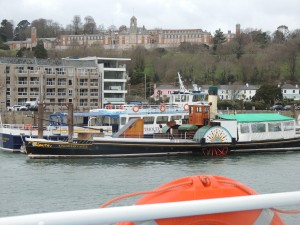 The paddle steamer Kingswear Castle, which is used for river trips in the summer from Dartmouth all the way to Totnes